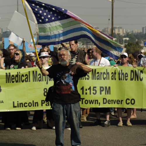 Protestors gather for Democratic National Convention in 2008 in Denver, CO.